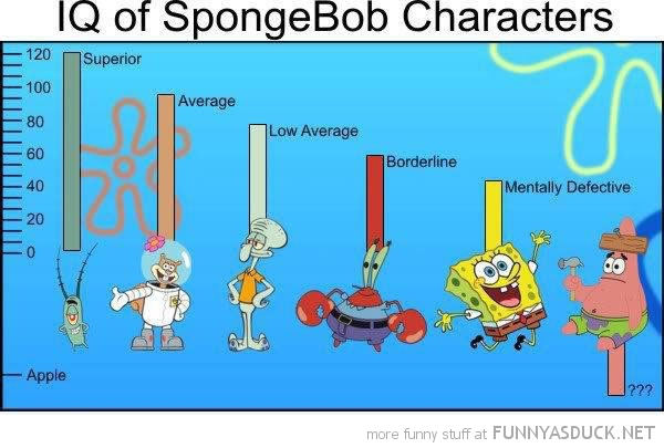 iq of spongebob characters nickelodeon funny pics pictures pic picture image photo images photos lol