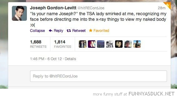 joseph gordon levitt tsa airport x-ray twitter tweet funny pics pictures pic picture image photo images photos lol