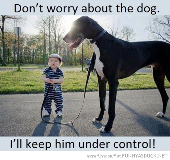 kid boy big dog animal don't worry keep control funny pics pictures pic picture image photo images photos lol