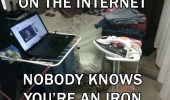 laptop computer on internet nobody knows you're an iron funny pics pictures pic picture image photo images photos lol