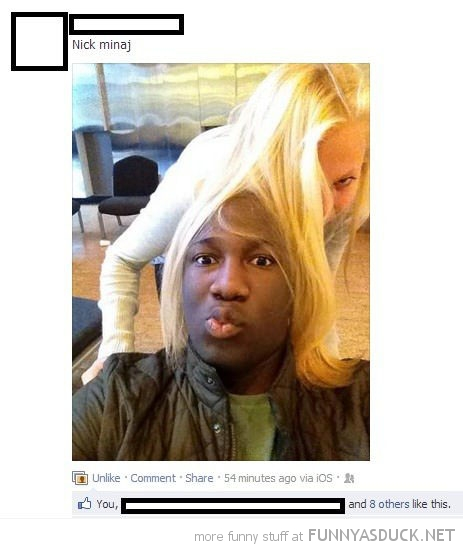 man girls blond hair head nicki minaj facebook status funny pics pictures pic picture image photo images photos lol