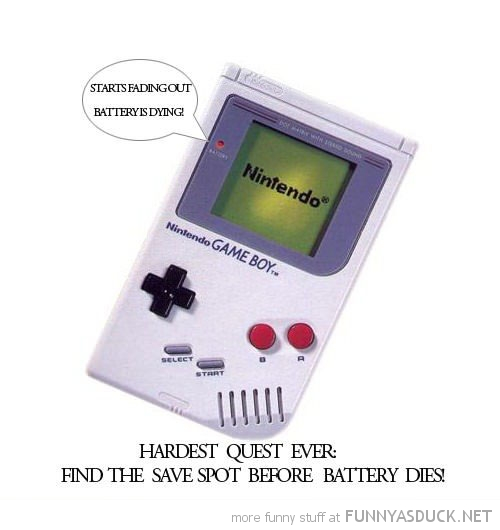 nintendo gameboy battery dying find save point quest gaming funny pics pictures pic picture image photo images photos lol