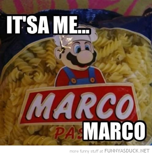 pasta bag mario look-a-like it's a me marco gaming nintendo funny pics pictures pic picture image photo images photos lol