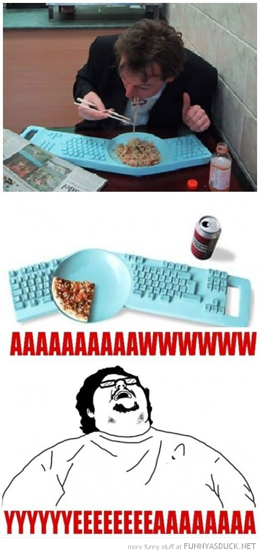 plate keyboard combi pizza fat guy geek aww yeah funny pics pictures pic picture image photo images photos lol