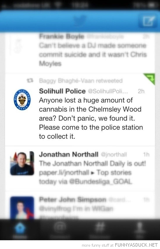 police twitter tweet found cannabis come collect pick up funny pics pictures pic picture image photo images photos lol