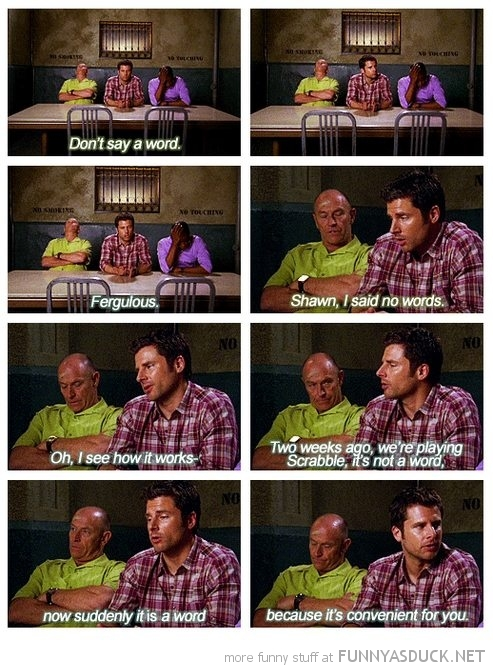 psych tv scene don't say word scrabble funny pics pictures pic picture image photo images photos lol