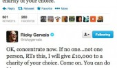 rickey gervais twitter tweet no one retweets donate charity  funny pics pictures pic picture image photo images photos lol