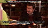 ron swanson parks recreation bacon eggs tv scene funny pics pictures pic picture image photo images photos lol