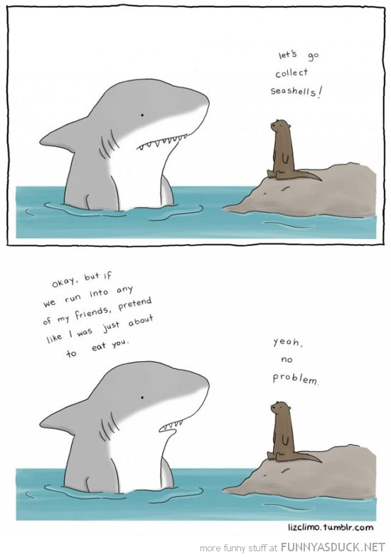shark otter friends come pretend eating you comic funny pics pictures pic picture image photo images photos lol
