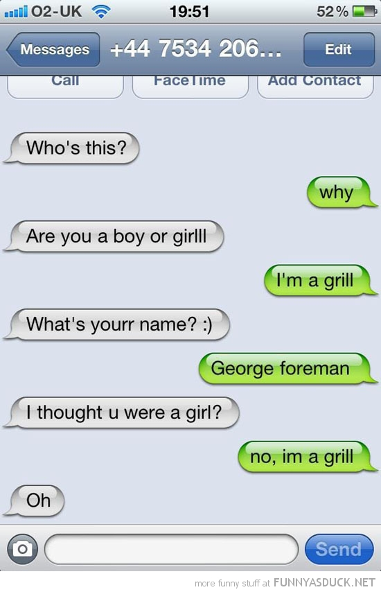 sms text iphone message i'm a grill george forman funny pics pictures pic picture image photo images photos lol
