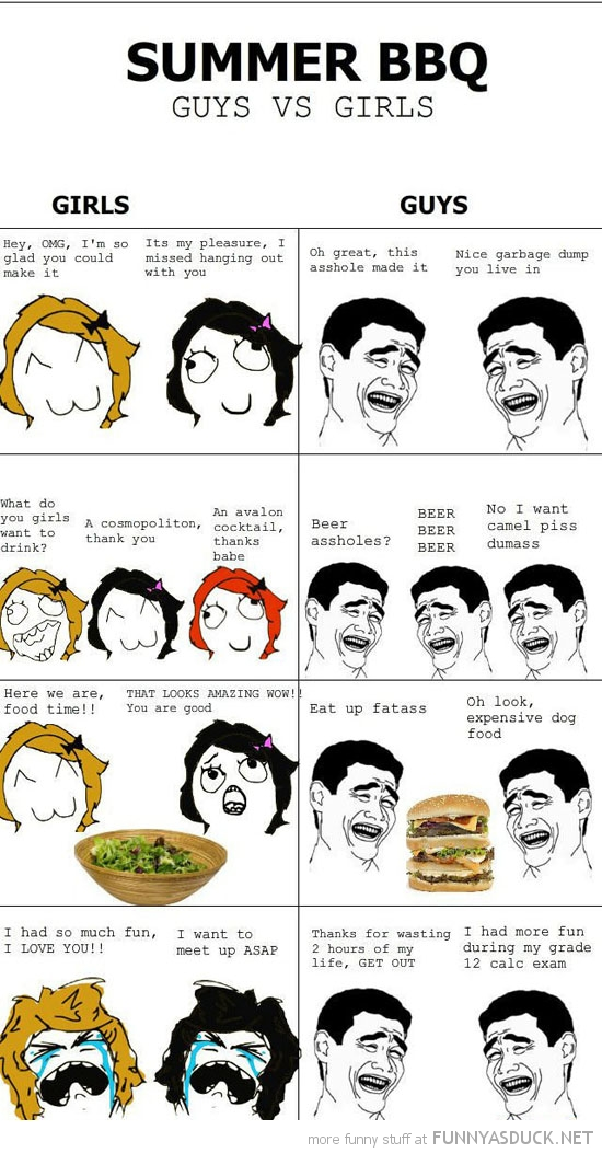 summer bbq girls vs boys rage comic meme funny pics pictures pic picture image photo images photos lol
