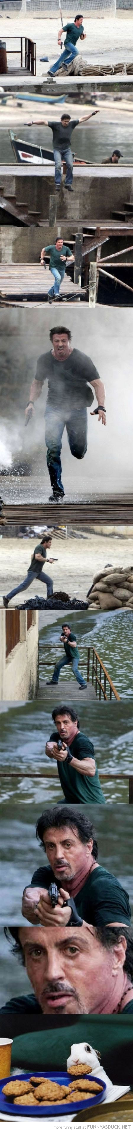 sylvester stallone running gun movie shoot rabbit stealing cookies funny pics pictures pic picture image photo images photos lol