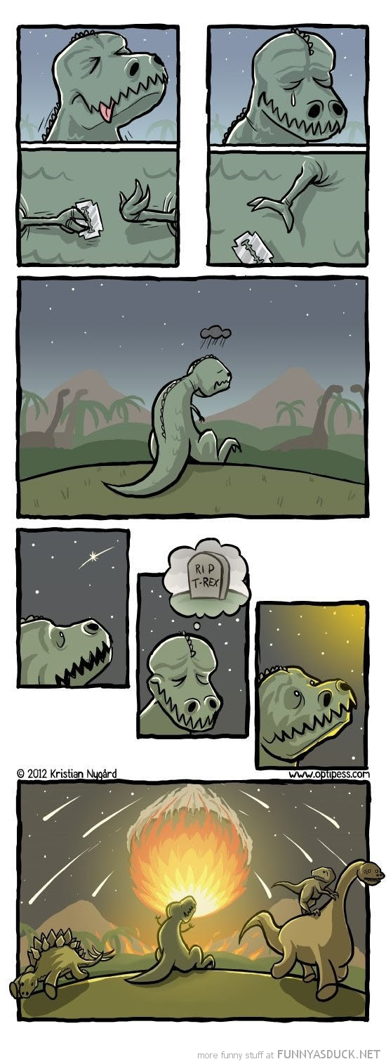 t-rex dinosaur suicide comic meteor funny pics pictures pic picture image photo images photos lol