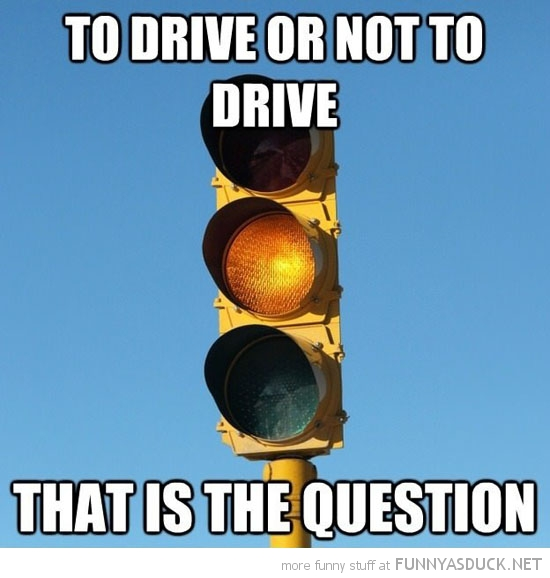 to drive or not is the question yellow amber traffic light funny pics pictures pic picture image photo images photos lol