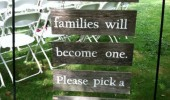 two familys become one wedding sign pick seat not side funny pics pictures pic picture image photo images photos lol