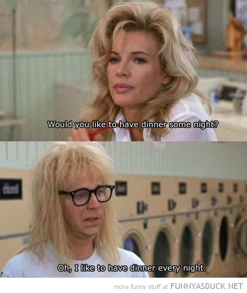 waynes world go out dinner garth movie scene funny pics pictures pic picture image photo images photos lol