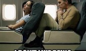 woman seat back plane man squashed don't like being comfortable funny pics pictures pic picture image photo images photos lol