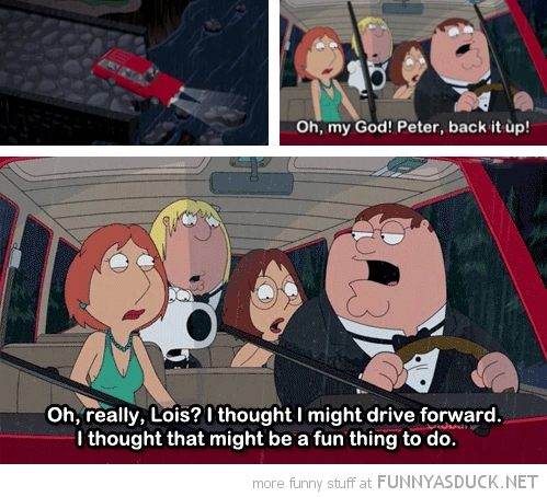 family guy car crash peter back it up tv funny pics pictures pic picture image photo images photos lol