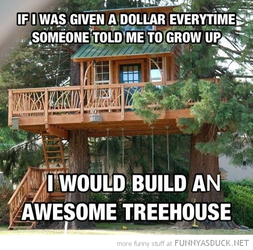 given dollar everytime told grow up build awesome treehouse funny pics pictures pic picture image photo images photos lol