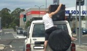 man riding back car no need for straps have a bro  funny pics pictures pic picture image photo images photos lol