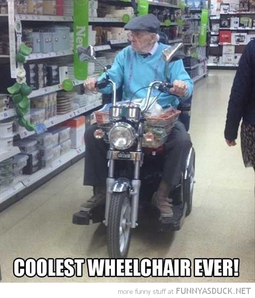 old man motorbike cycle wheel chair funny pics pictures pic picture image photo images photos lol