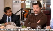 ron swanson parks rec food mistake eat tv funny pics pictures pic picture image photo images photos lol