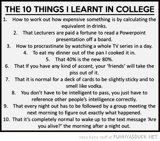 The 10 Things I Learnt In College