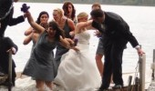 bride woman falling lake water funny pics pictures pic picture image photo images photos lol
