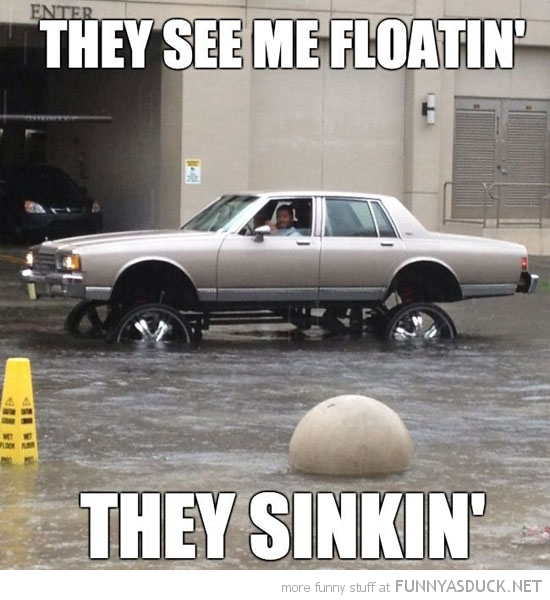 car water flood see me floating they sinking funny pics pictures pic picture image photo images photos lol