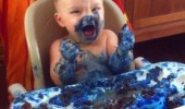 kid baby high chair blue mess bring me another smurf funny pics pictures pic picture image photo images photos lol