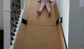 kids cardboard box slide stairs why didn't i think of this funny pics pictures pic picture image photo images photos lol