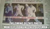 police officer dancing crime scene news paper report funny pics pictures pic picture image photo images photos lol
