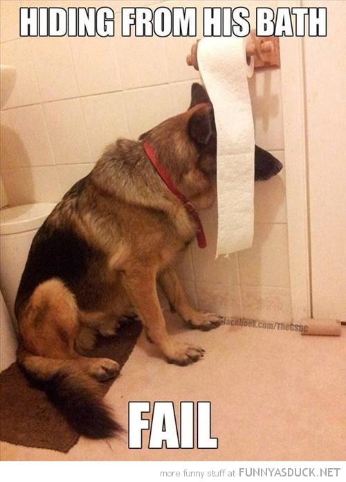 Hiding From His Bath